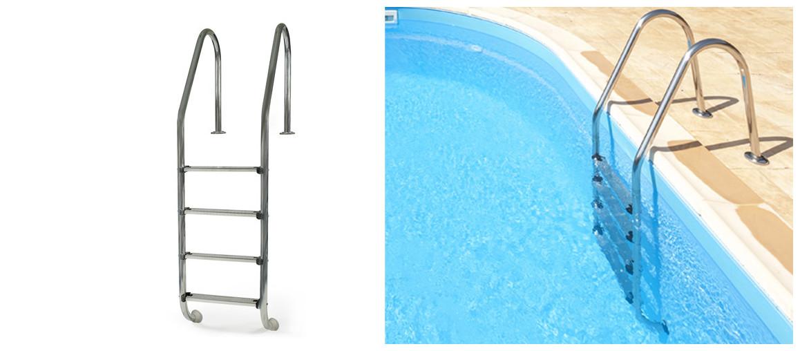 échelle d'accès pour piscine enterrée en acier gré