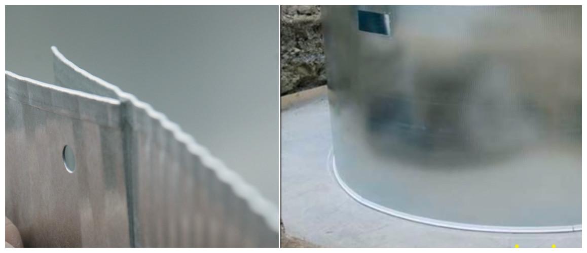 structure de la piscine en acier enterrée gré