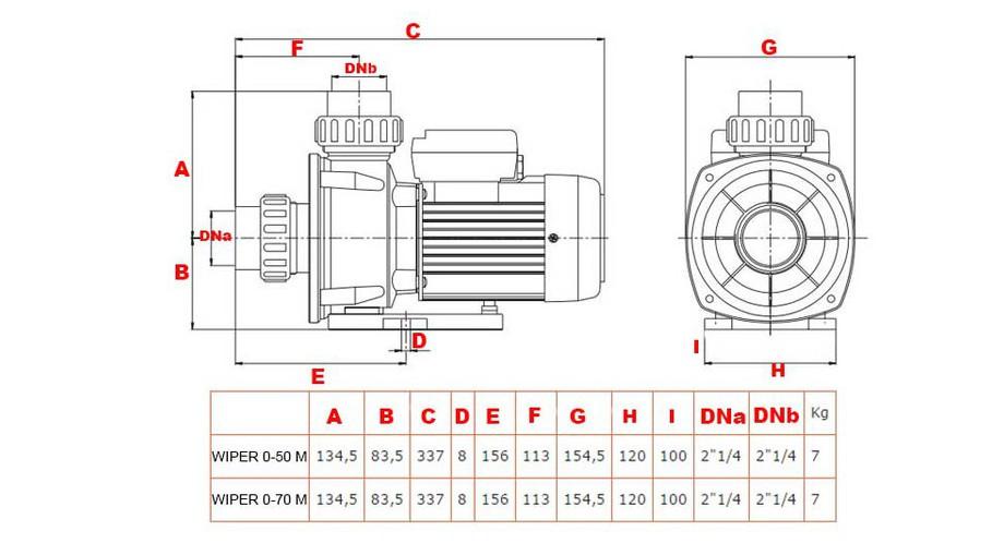 dimensions et poids de la pompe piscine  Wiper 0 by ESPA