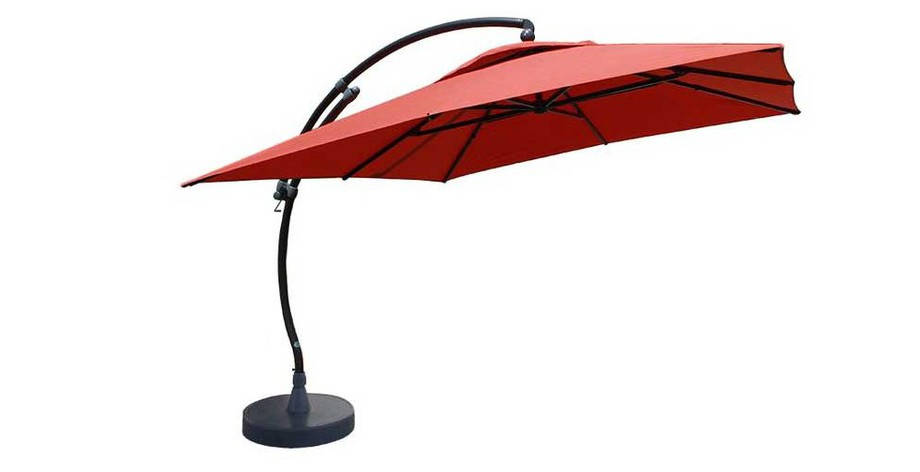 Parasol déporté carré 320 Easy Sun en olefin terracotta en situation