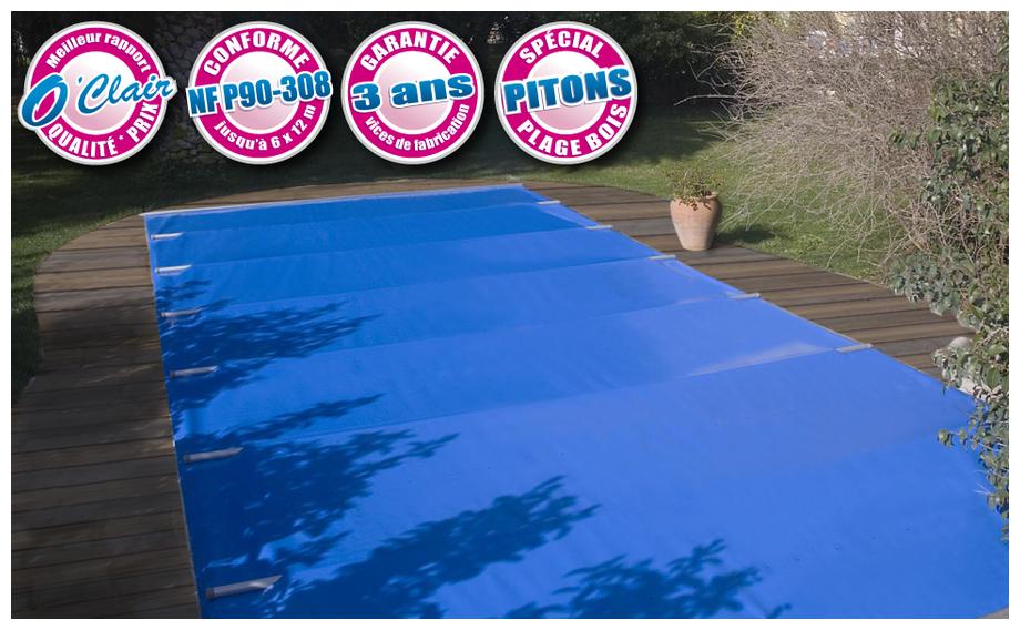 Bâche à barres Pool-Barres Argent pour piscines avec plage bois