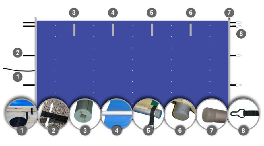 Bâche à barres piscine Pool-Barres Bronze - schema détails