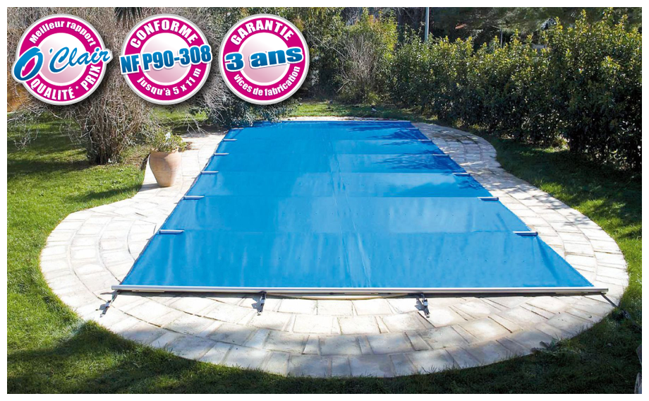Bache pool barre argent piscines jusqu 39 6 x 12 m for Piscine center