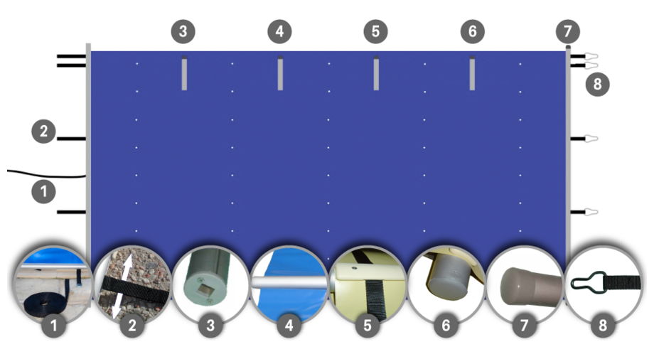 Bâche à barres piscine Pool-Barres Bronze - schéma détails