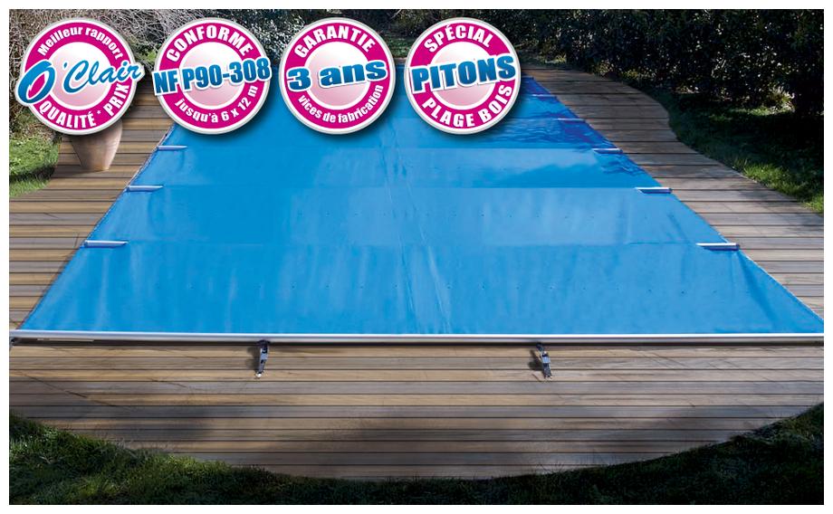 Bâche à barres piscine Pool-Barres Bronze pour piscine à plage bois