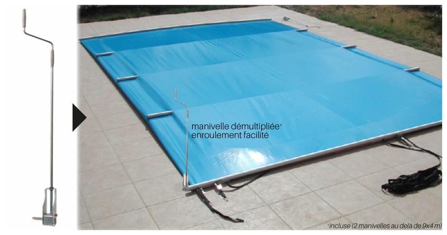 Bâche à barres toutes saisons Pool Barres - enrouleur manuel fourni