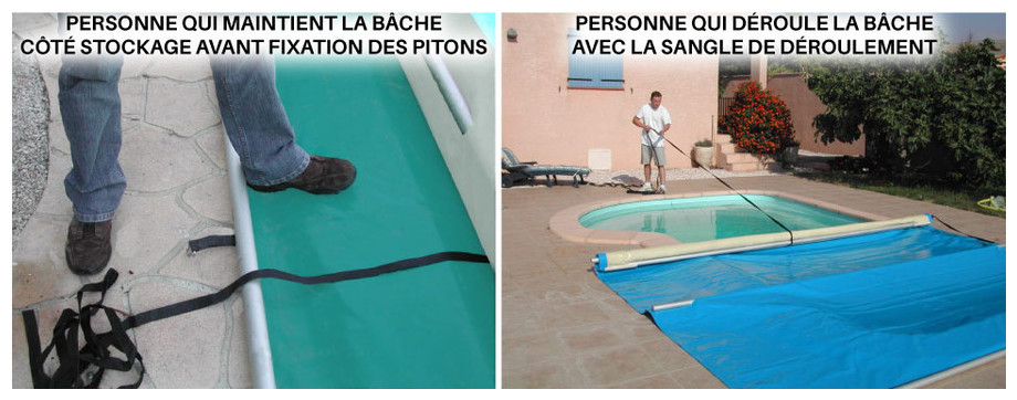 Bâche à barres piscine Pool-Barres Plus - mise en palce