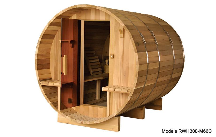 sauna extérieur en forme de tonneau en red cesar en situation