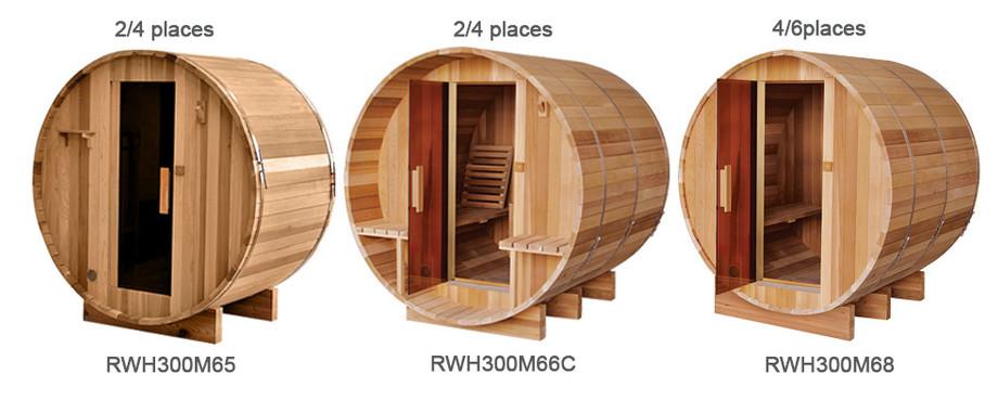 modèle de sauna tauneau en bois red cedar en situation