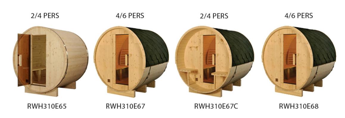 modèle de sauna extérieur en bois tonneau en situation