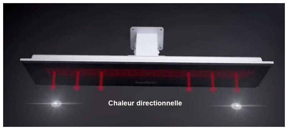 Diffusion de la chaleur radiante du chauffage infrarouge Platinium Fargau en situation