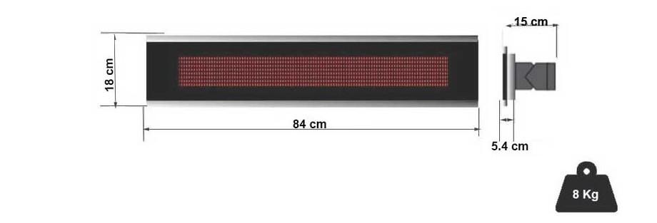 dimensions du chauffage infrarouge platinium Fargau en situation