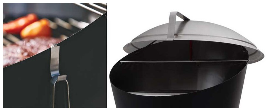 accessoires fournis avec le barbecue à charbon Cone Fargau en situation