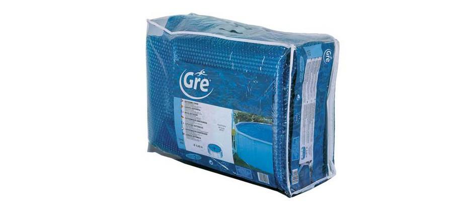 emballage de la bâche à bulles de piscine Gré 267 microns en situation