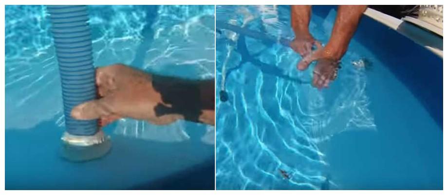 détail de l'installation de la prise balai Gré pour piscine hors sol en situation