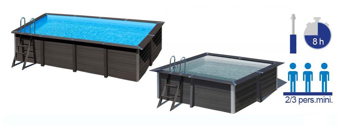 caractéristiques du kit piscine bois composite gré avant garde