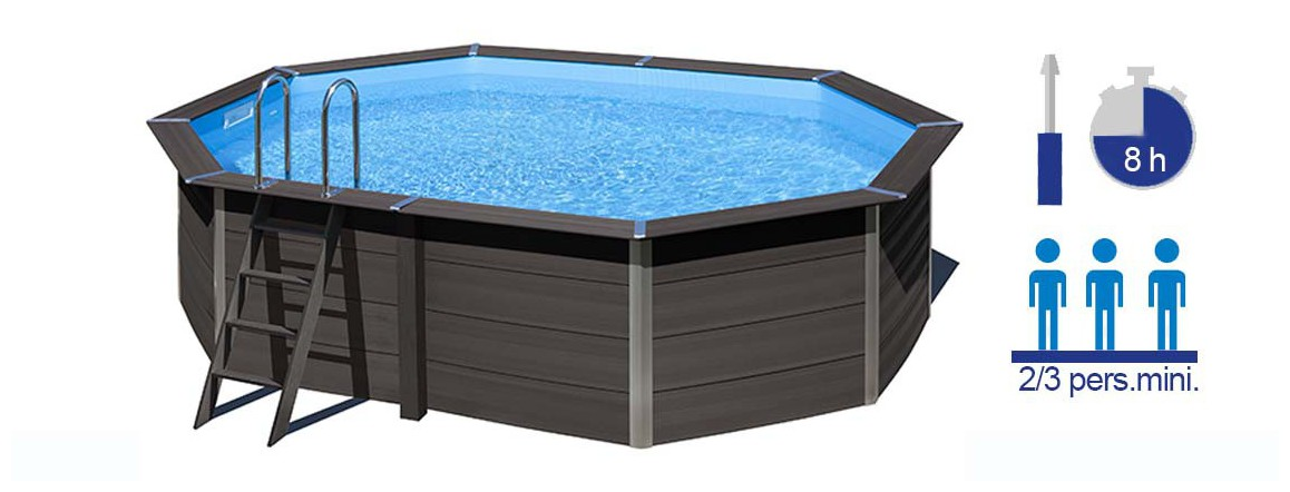 caractéristiques de la piscine en kit en composite gré avant garde octogonale allongée