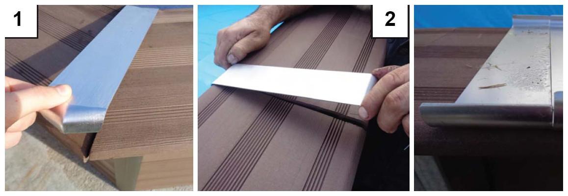 assemblage des margelles de la piscine bois composite gré avant garde