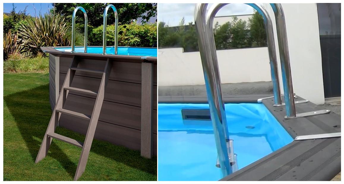 échelle de la piscine hors sol en bois gré composite avant garde