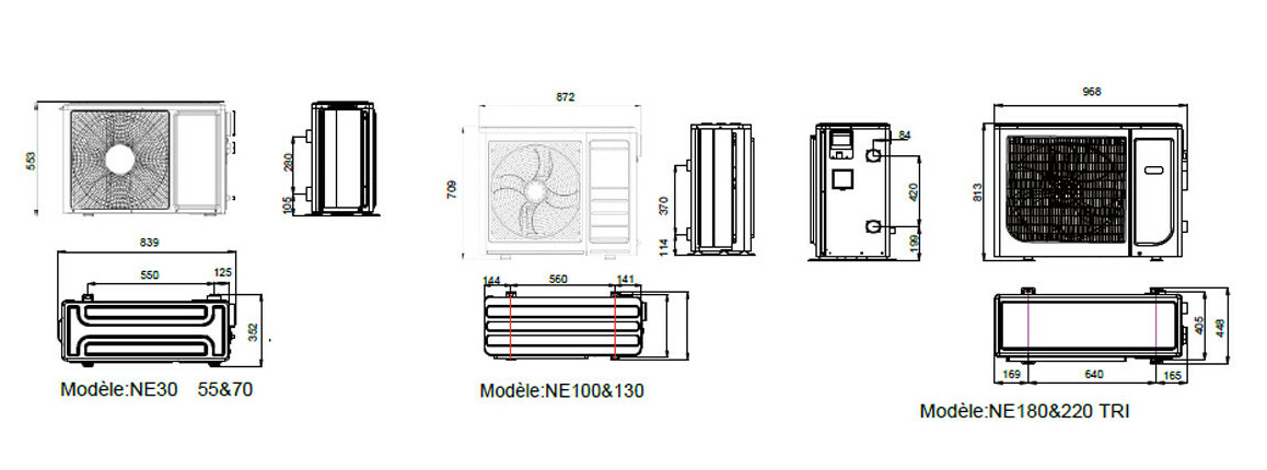 dimensions de la pompe à chaleur de piscine pacfirst ne wifi