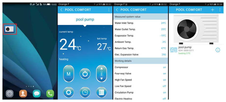 Pompe à chaleur Pacfirst Steel Wifi - interface smartphone et application POOLCOMFORT