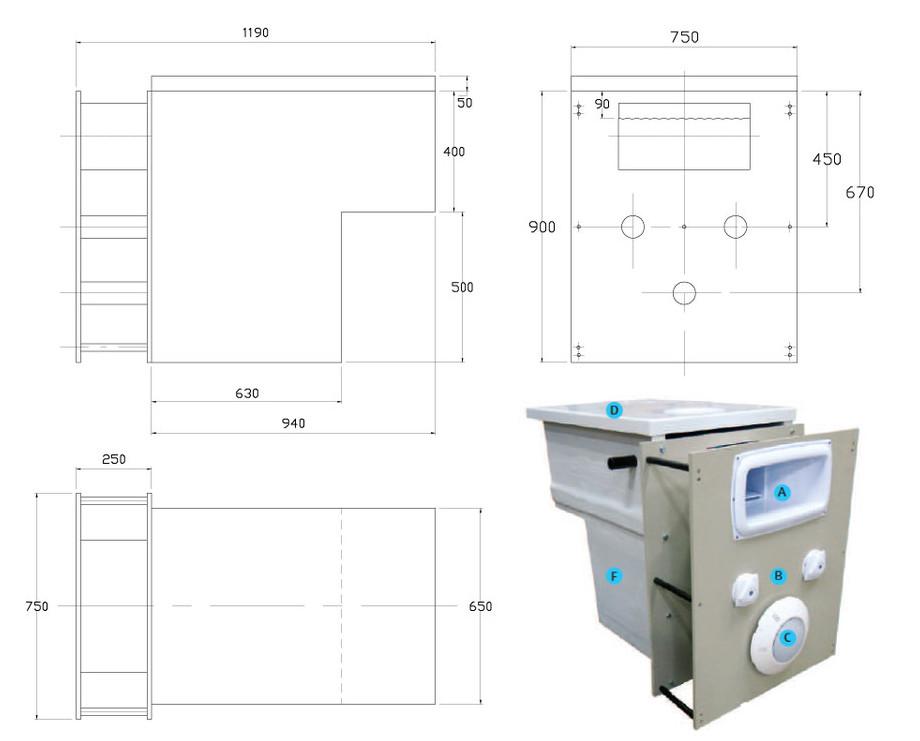 filtration monobloc intégrée GS14 - Dimensions