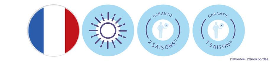 Bâche à bulles standard prédécoupée 400µ bleu - garanties