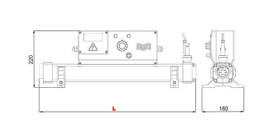 Dimensions du réchauffeur électrique de piscine Vulcan Electro