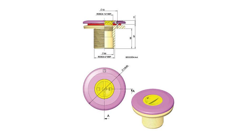 dimensions de la prise balai Astral grise anthracite pour piscine liner