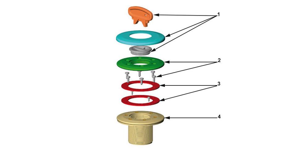 composants de la prise balai grise anthracite Astral pour piscine liner