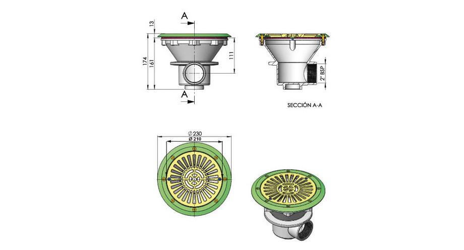 dimensions de la bonde de fond à sceller piscine liner en situation