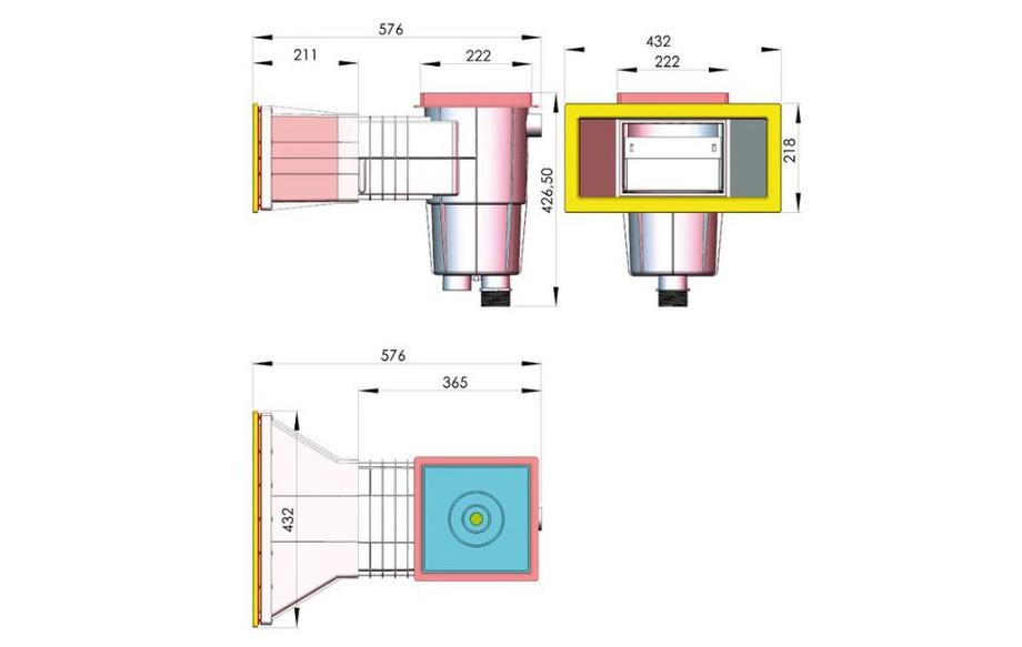 schéma de skimmer pour piscine béton ou liner