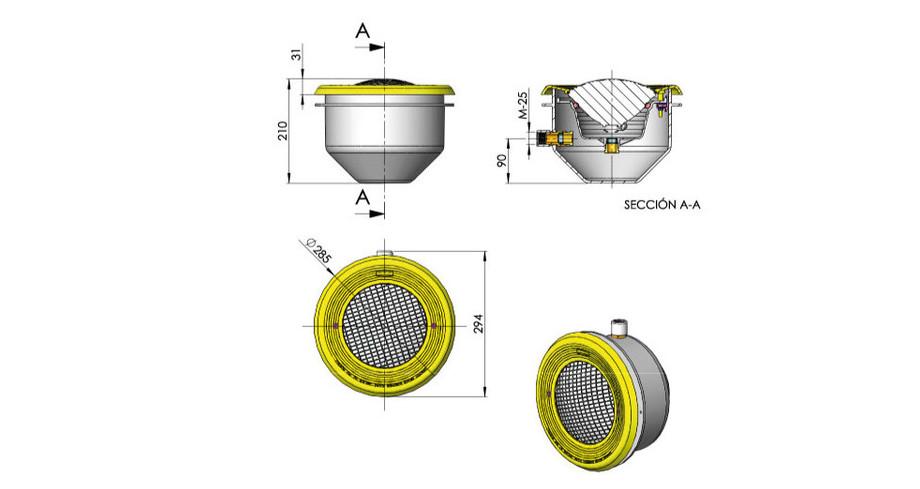 dimensions du projecteur de piscine gris anthracite Astral 300W