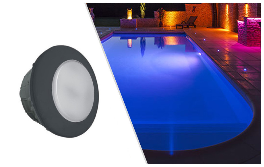 Projecteur led rgb gris anthracite piscine b ton for Liner piscine beton