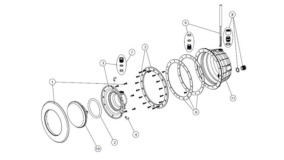 composition du projecteur Led Rgb gris anthracite pour piscine béton et liner Astral