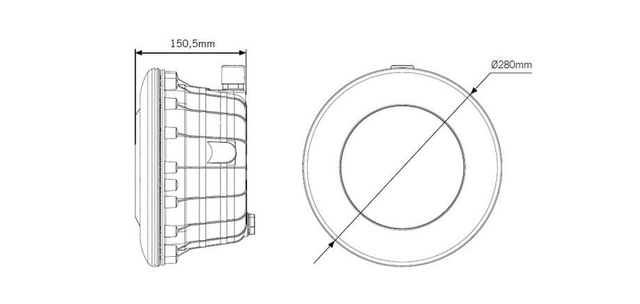 dimensions du projecteur gris anthracite led RGB pour piscine Astral