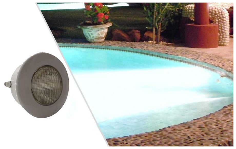projecteur led gris 1.14 lumière blanche pour piscine béton et liner en situation