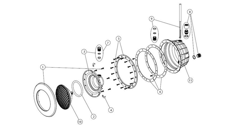 composition du projecteur gris anthracite à led blanche pour piscine béton et liner
