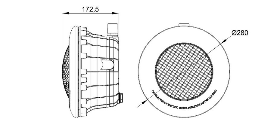 dimensions du projecteur gris anthracite  led blanche pour piscine béton et liner