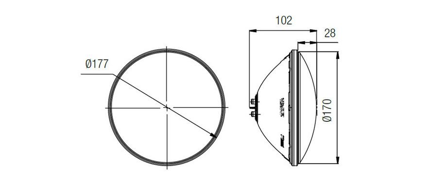 dimensions de l'ampoule Lumiplus 1.14