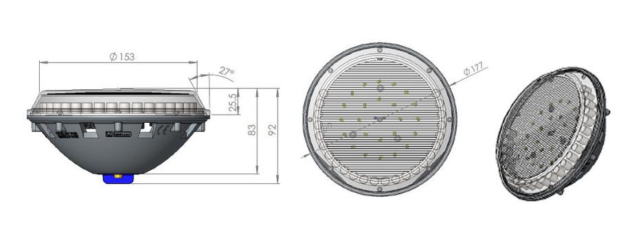 dimensions de l'ampoule Lumiplus RGB 2.0