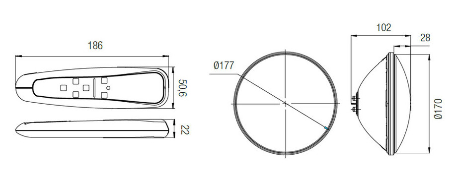 dimensions télécommande de l'ampoule lumiplus led rgb