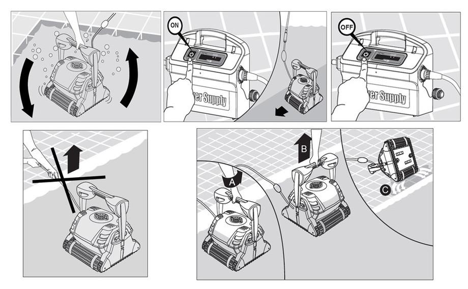 installation du robot de nettoyage de piscine Dolphin D210