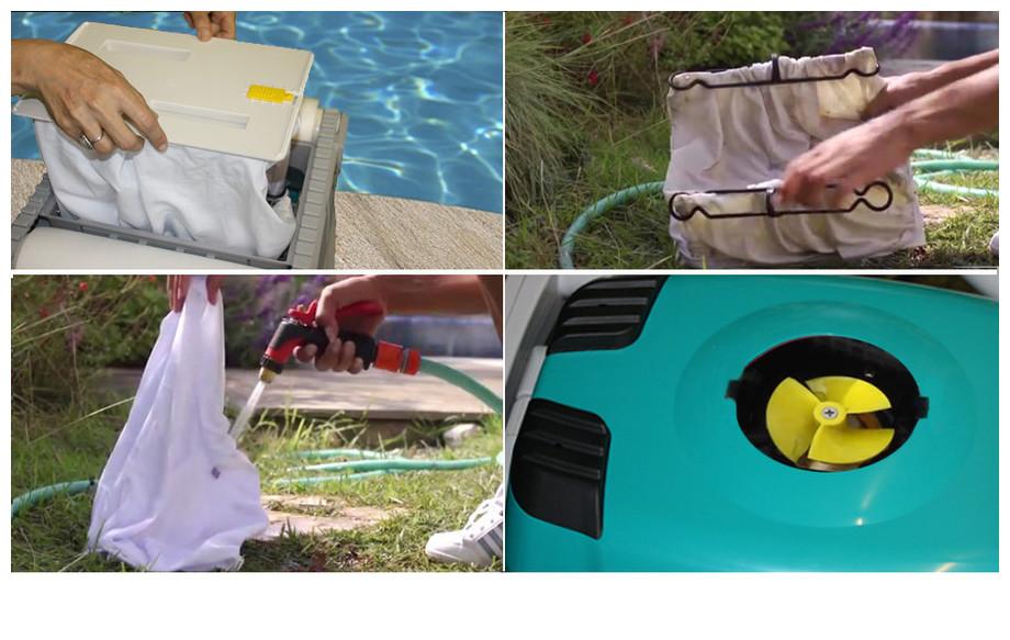 entretien du sac de filtration du robot Dolphin D210 mousse