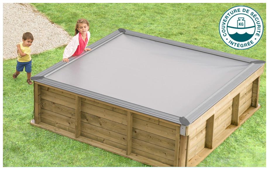 piscine bois pistoche pour enfants couverture de sécurité