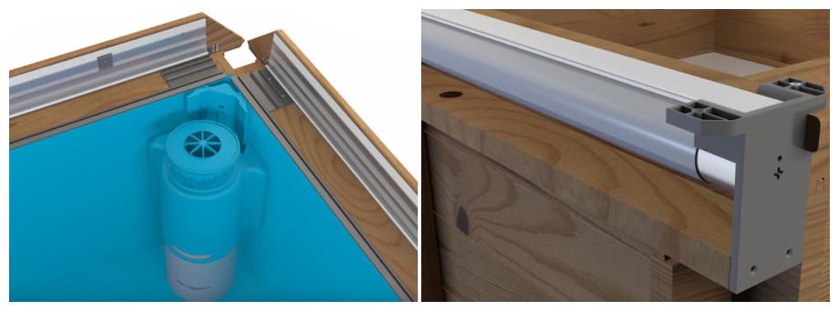 Pistoche, la piscine bois Made in France pensée pour les enfants - margelles alu articulées - enrouleur intégré