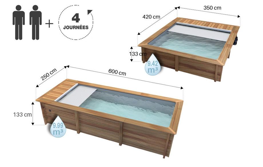 dimensions de la piscine bois urbaine proswell