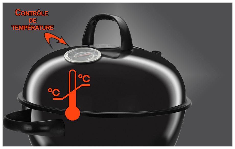 Thermomètre de température du barbecue à charbon de bois Premium 57