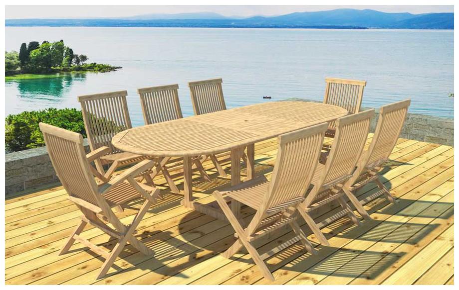 Ensemble repas en teck table ovale et 6 chaises et 2 fauteuils en situation 2