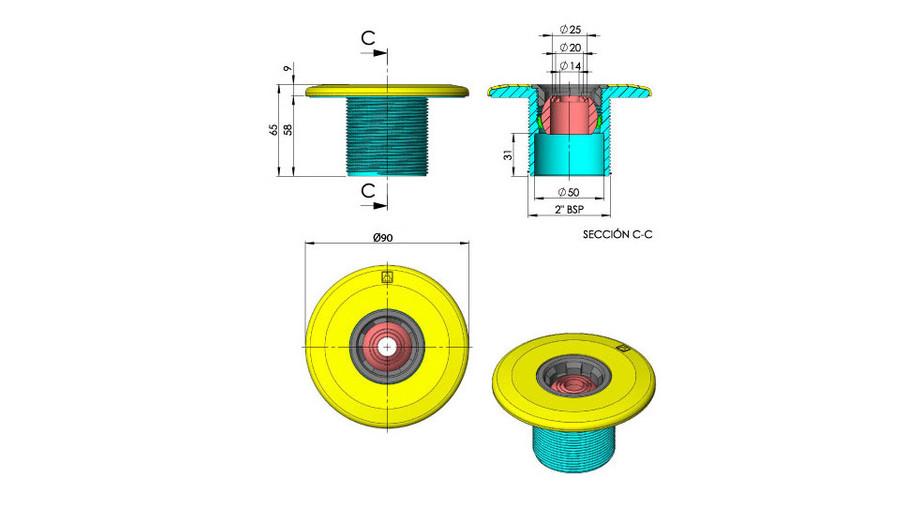 dimensions de la buse de refoulement grise anthracite pour piscine béton